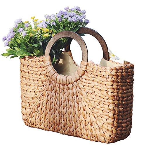 Eshow Women Rattan Fashion Straw Weaving Handbag Small Tote Adjustable Sling Bag Shoulder Bag Shopping Beach Travel