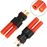 Maxmoral 2PCS Deans T-Plug Male to HXT 4mm Connector RC Lipo Battery Converter Adapter No Wires