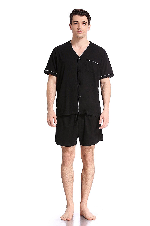 Like2sea Summer Cotton Pajamas for Men, Short V-Neck Button Down Sleepwear Set, Black, L