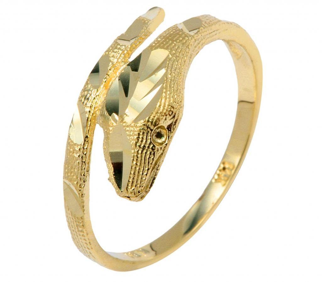 Polished 14k Yellow Gold Snake Wrap Band Lucky Cobra Ring (Size 6.25)