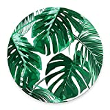 Tropical Leaf Mousepad - Mat - Beautiful Design - Leaves Green with White Background - Round Mouse pad