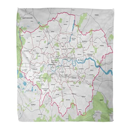 Emvency Throw Blanket Warm Cozy Print Flannel Borough High Detail Greater London Map Outline Comfortable Soft for Bed Sofa and Couch 50x60 Inches