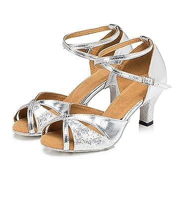 WYMNAME Womens Latin Tanzschuhe,Moderner Tanzschuhe Mittleren Heels Leder Soziale Tanzschuhe Dancing Schuhe-Silber 1 Fußlänge=23.8CM(9.4Inch)