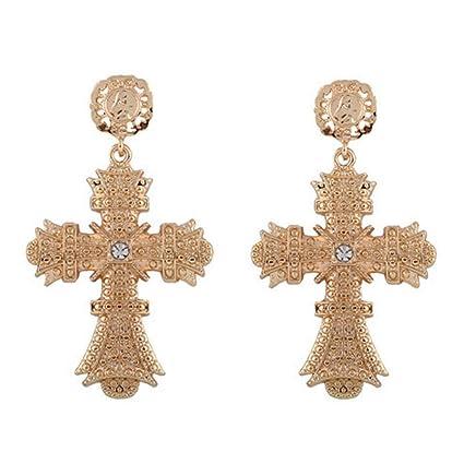muy bonito 43d5f 9ea52 FENICAL Mode Cristal Cruz Pendientes Personalidad Grandes Larga Pendientes  Joyas para Mujeres (Golden)