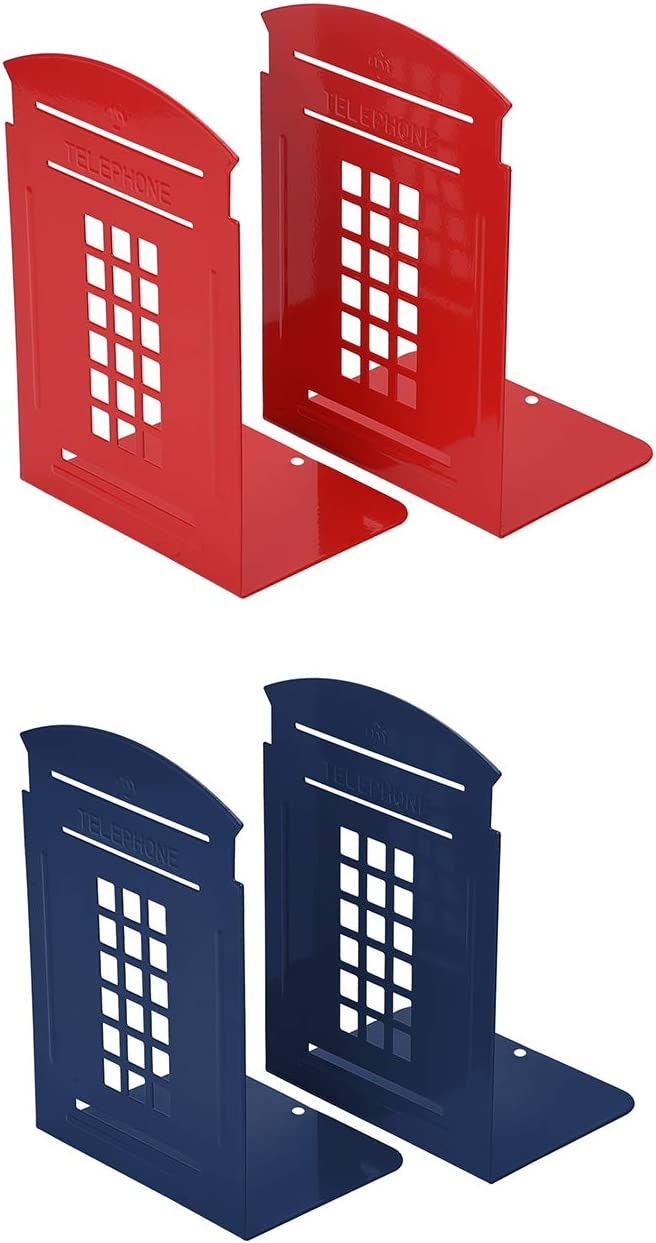 MerryNine Bookends, 2 Pair Heavy Metal Non Skid Sturdy Telephone Booth Decorative Gift for Bookshelf Office School Library (London-Red/Blue)