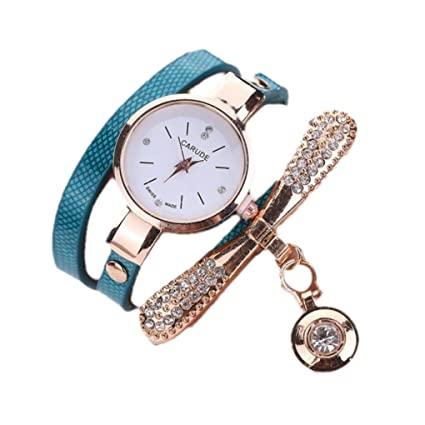 Amazon.com: LtrottedJ Women Leather Rhinestone Analog Quartz Wrist Watches (Blue): Health & Personal Care