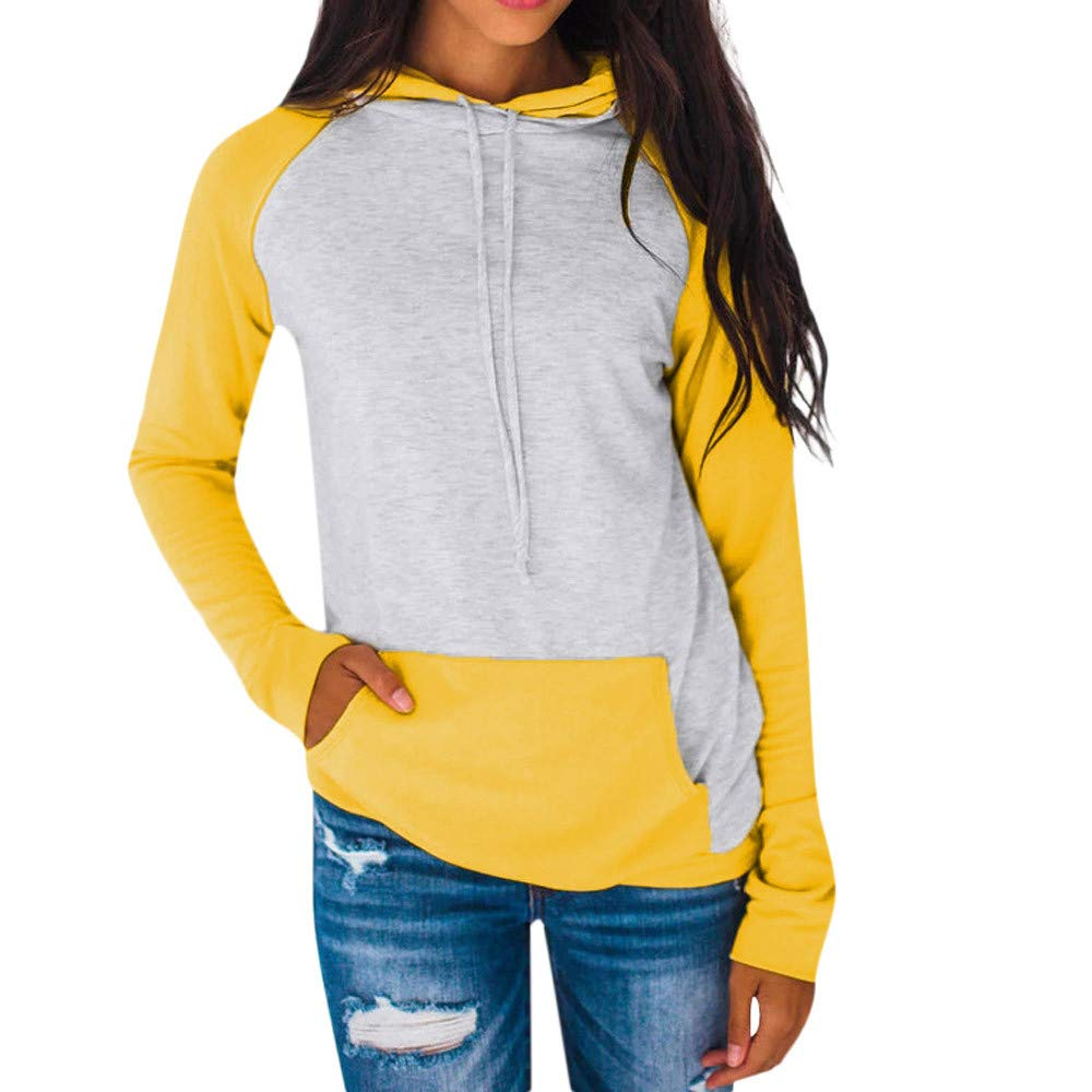 Kemilove Women Autumn Long Sleeve Pocket Patchwork Hooded Sweatshirt Pullover Tops Blouse Casual Hooded Coat Pullover