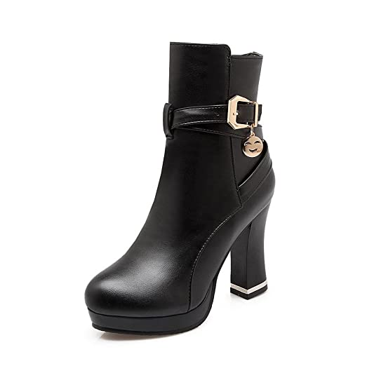 Women's Round Closed Toe Low Top High Heels Solid Pu Boots