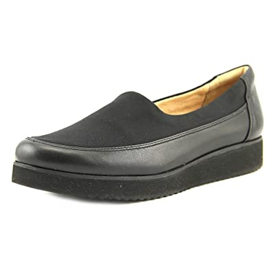 Naturalizer Women's Neoma Slip On,Black Leather/Stretch,US 7.5 W