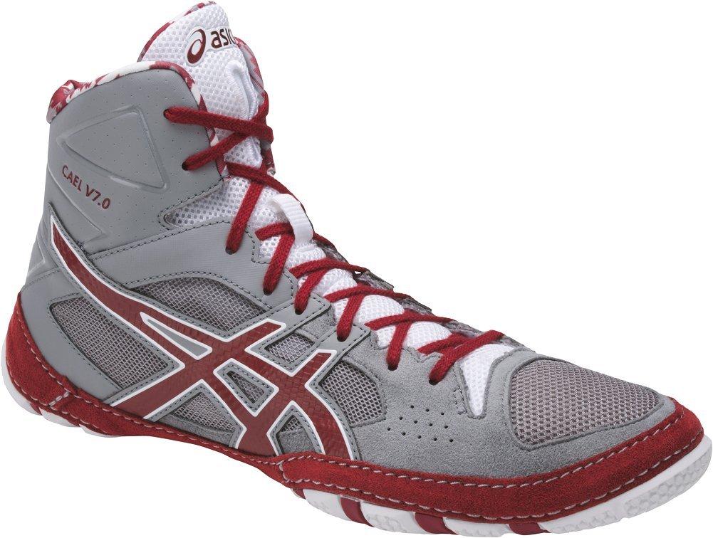 ASICS Mens Cael V7.0 Wrestling Shoe, Aluminum/Burgundy/White, 8 Medium US by ASICS