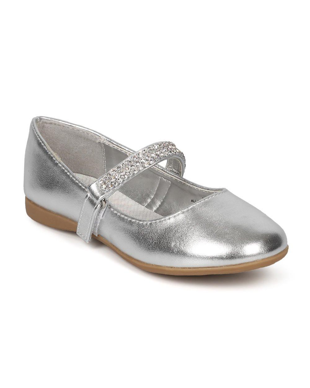 Little Angel Round Toe Rhinestone Mary Jane Ballerina Flat CG37 - Silver Metallic (Size: Big Kid 3)
