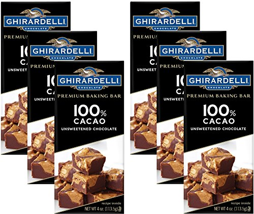 Ghirardelli Chocolate Baking Bar, 100% Cacao Unsweetened Chocolate, 4-Ounce Bars (Pack of 6) -