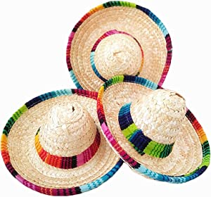 Crazy Night Natural Straw Mini Sombrero/Mexican hat,Tabletop Party Supplies (12 Piece)