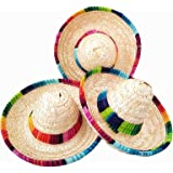 Crazy Night natural straw mini sombrero/new design mini mexican hat,Tabletop Party Supplies (12 Piece)