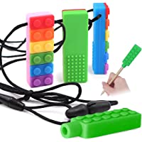 Kalevel 4pcs Sensory Chew Necklace Pencil Toppers Silicone Autism Chewing Necklace for Girls Boys ADHD Oral Motor…