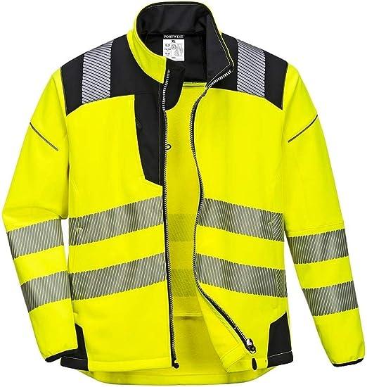 PORTWEST PW3 Hi Vis Softshell Jacket Windproof Water Resistant Work Wear T402