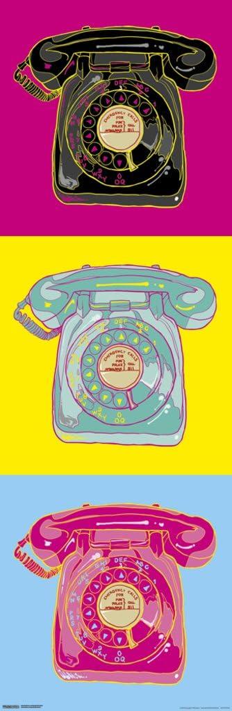Pyramid America Rotary Phones Old School Retro Vintage Dial Pop Art Bright Colors Fuchsia Yellow Blue Cool Wall Decor Art Print Poster 12x36