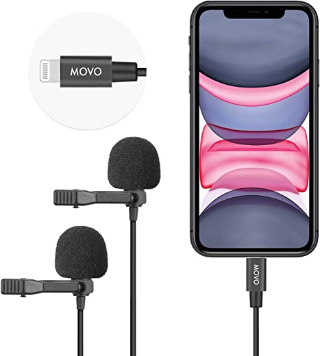 Movo iLav-DUO Dual Digital Lavalier Omnidirectional Clip on Microphone with MFi Certified Lightning Adapter - Lapel Mic Compatible with iPhone, iPad, and Other iOS Devices - Great Interview Microphone