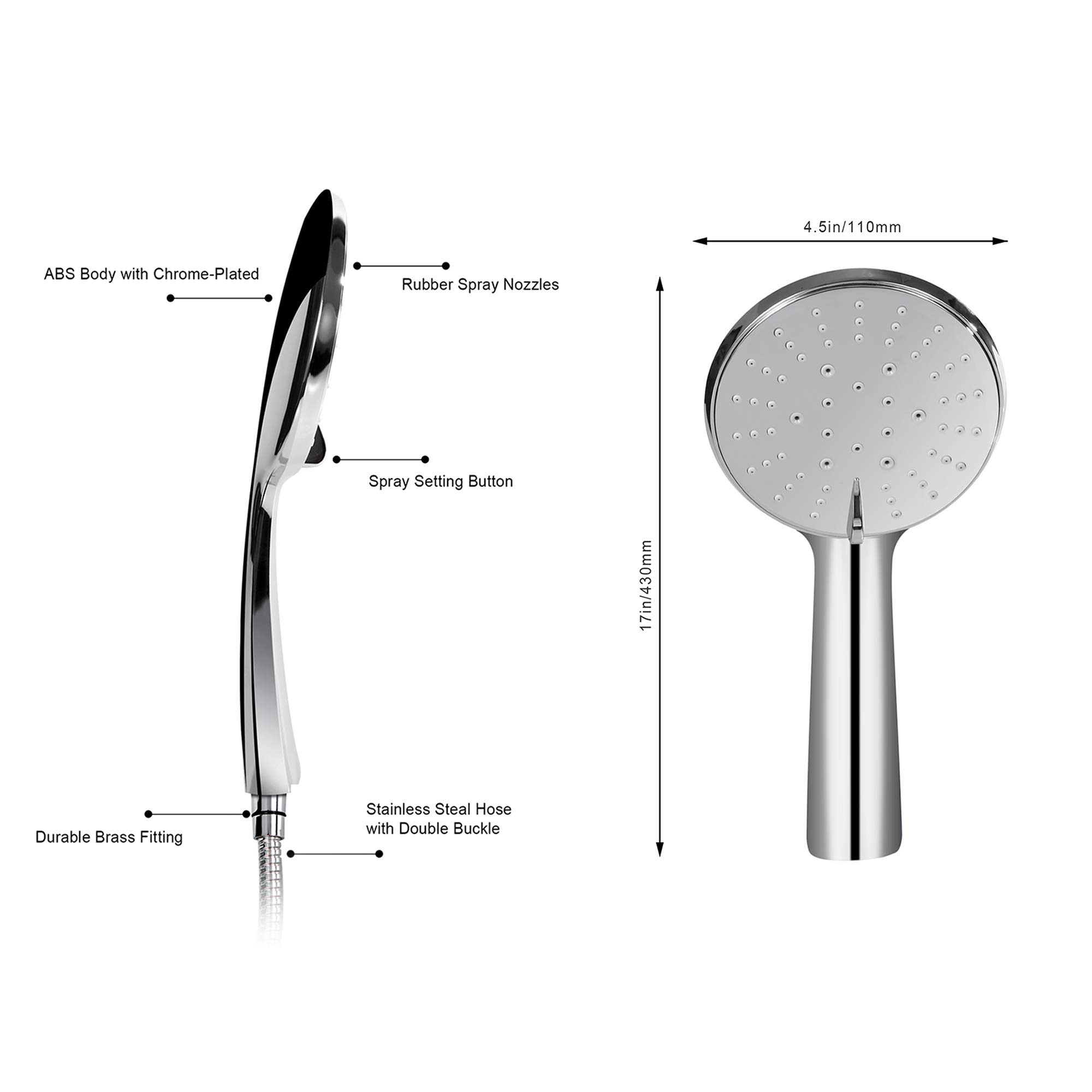 Bathroom Shower Head Kit with 1.5M Stainless Steel Shower Hose, Handheld 3 Spray Water Flow Options Adjustable Head Set, Water Saving Mode, Full Chrome