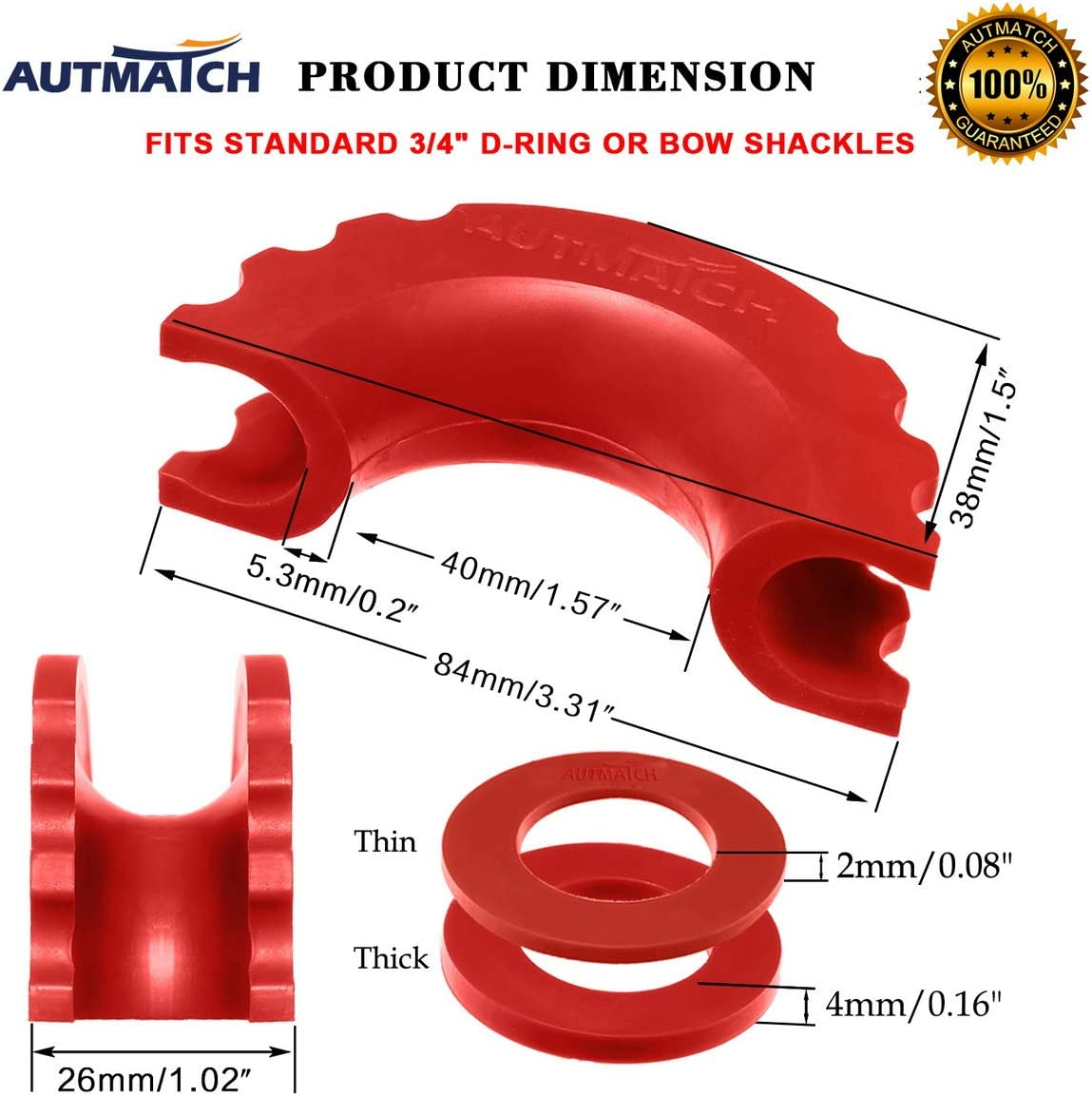 AUTMATCH Pack of 2 D-Ring Shackle Isolators Washers Kit 2 Rubber Shackle Isolators and 4 Washers Fits 3//4 Inch Shackle Gear Design Rattling Protection Shackle Cover Orange
