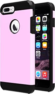 iPhone 7 Plus Case,iPhone 8 Plus Case,iBarbe Slim Extreme Heavy Duty Rugged Hybrid Impact Shockproof Soft Hard PC Anti-Slip Cover Armor Shock Absorption Protection for iPhone 7/8 Plus(Pink/Black)