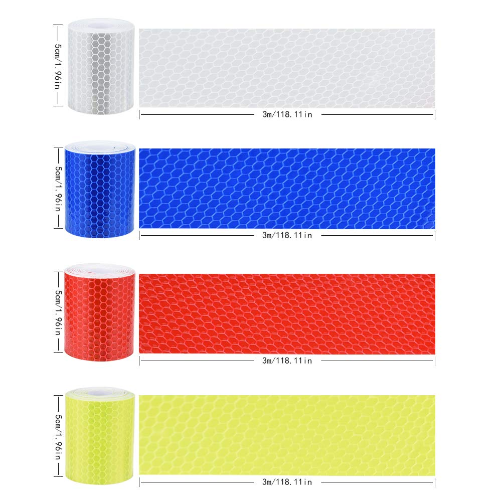 Bikes Waterproof Reflector Warning Tape with Clear Reflecting the Contours of Vehicle on Night for Vehicles Irich 4 Pcs Reflective Tape Baby Strollers 5CM * 3M