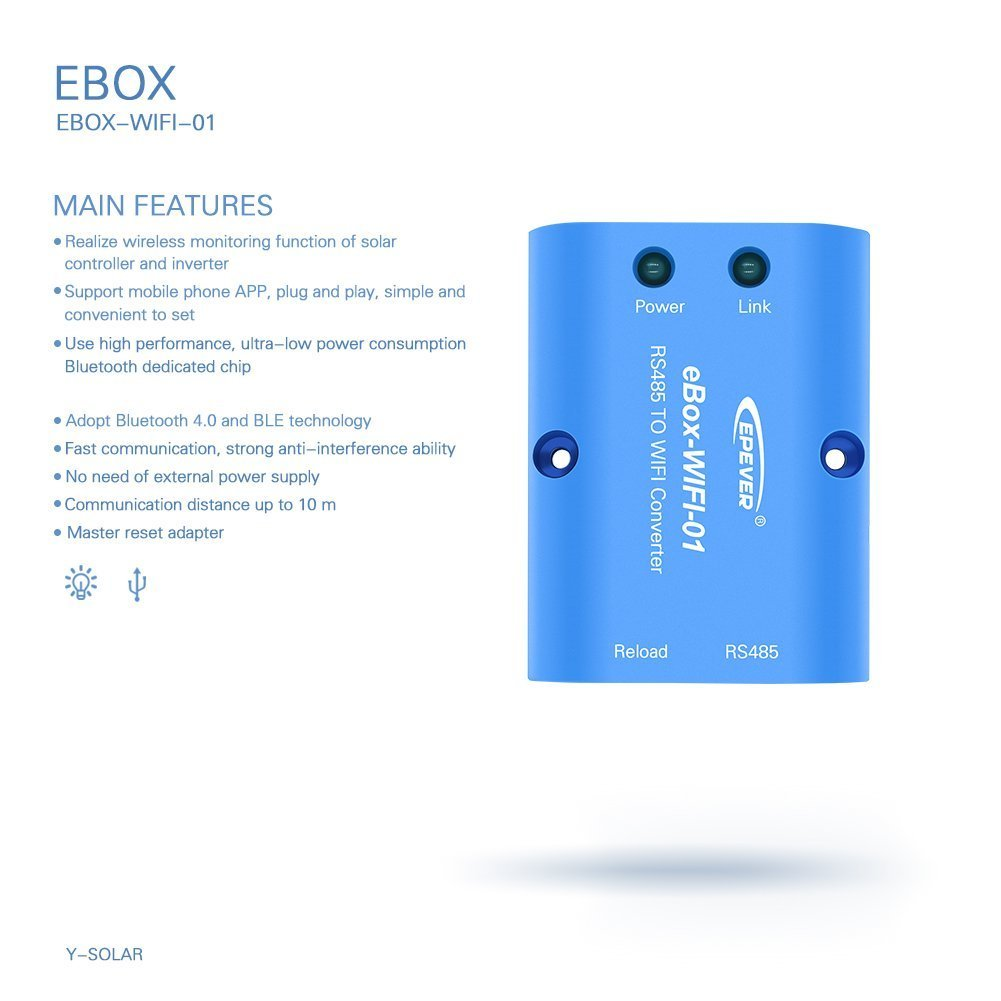 EPEVER eBox-WIFI-01 WiFi Box RS485 to WiFi Adapter Communication Wireless  Monitoring by Mobile Phone APP for Solar Controller Tracer A Series
