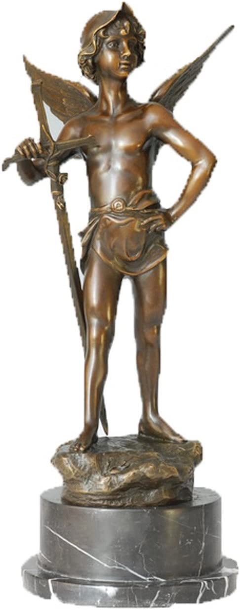 Toperkin Marble Statue Dragon Slayer Home Decor Artwork Bronze Sculpture
