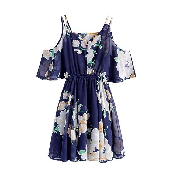 QinMM Vestido Mini de la Gasa Floral Halter para Mujer, Vestido de la Playa del Verano del Fiesta: Amazon.es: Ropa y accesorios