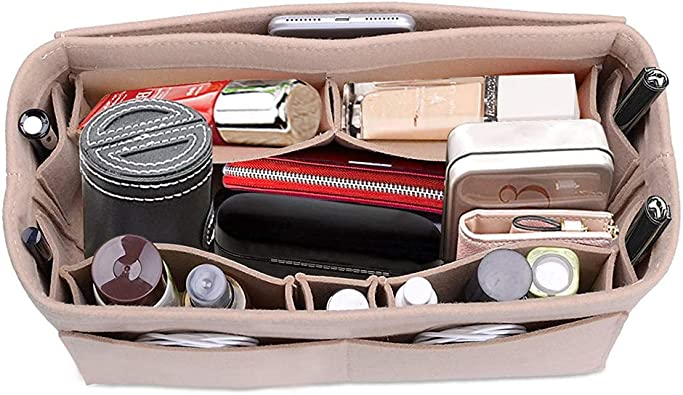 PINGDI Multifunction Handbag Organizer Purse Insert Bag Felt Fabric Storage Pouch Case