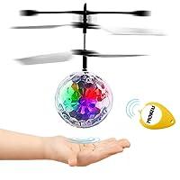 MOKIU RC Fliegender Ball, Mini Flugzeug Hubschruber mit LED Leuchtung Infrarot Flying Ball Für Junge Mädchen Induktionshubschrauber Ball als Geschenk Handsensor Spielzeug Indoor und Outdoor