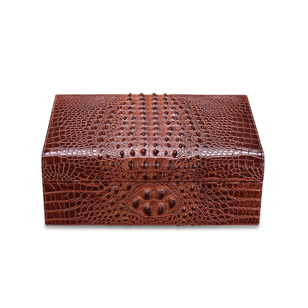 Jia He シガーボックス シガーボックス - 大容量の杉の木の葉巻ヒュミドールを格納するためのワニ皮4つの領域 @@ (Color : Brown) B07SN19979 Brown