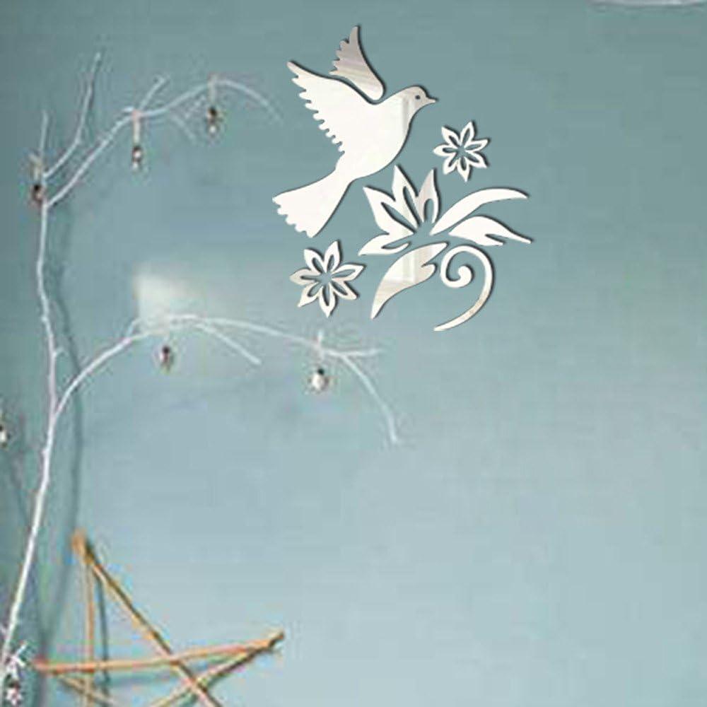 Argent Homebaby Stickers Muraux--Oiseau Stickers Muraux Amovible Sticker Muraux Miroir Sticker Muraux Autocollants Muraux Mural Stickers Chambre Enfants B/éb/é Garderie Salon