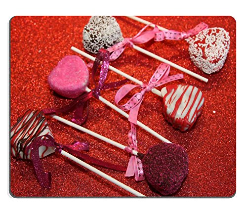 MSD Mousepad Cake Pop Valentine S Day Red Natural Rubber Material Image 1398903