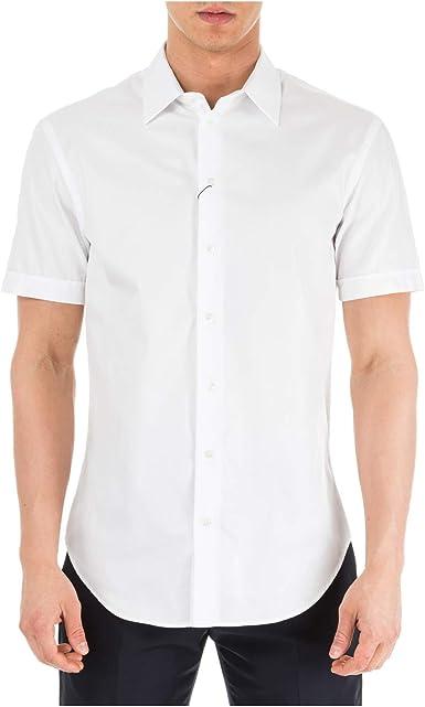 Emporio Armani Hombre Camisa de Manga Corta Bianco 40 cm: Amazon.es: Ropa y accesorios