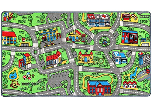 "Click N' Play Large Non-Slip City Life Kids Playmat Carpet, Fun, Educational, for Play Area, Playroom, Bedroom-53"" x 39"""