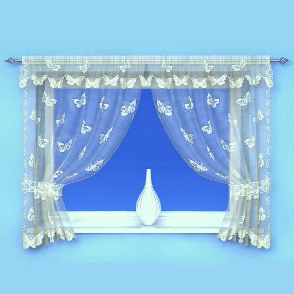 PRETTY BUTTERFLY CREAM  LACE NET WINDOW CURTAIN SET WITH TIEBACKS AND PELMET
