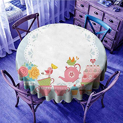 ScottDecor Tea Party Jacquard Tablecloth Two Birds Enjoying Tea and Various Sweets Pale Colored Image Bouquet of Flowers Beach Round Tablecloth Multicolor Diameter -