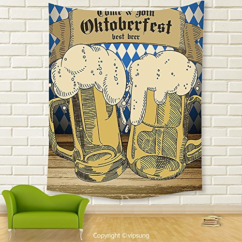 Vipsung House Decor Tapestry_Oktoberfest Decorations Collection Oktoberfest Design Famous Costume Tourist Attraction Travel Destination Blue Beige_Wall Hanging For Bedroom Living Room (Frida Kahlo Costume Halloween)