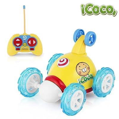ICOCO Coches De Control Remoto Stunt Rotación, 2 Canales 49MHZ Coche Teledirigido Juguetes con Luces y Música , Amarillo: Juguetes y juegos