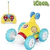 ICOCO Coches De Control Remoto Stunt Rotación, 2 Canales 49MHZ Coche Teledirigido Juguetes con Luces