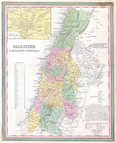 - Historic Map | Tanner Map of Palestine - Israel - Holy Land, 1836 | Historical Antique Vintage Decor Poster Wall Art | 24in x 30in