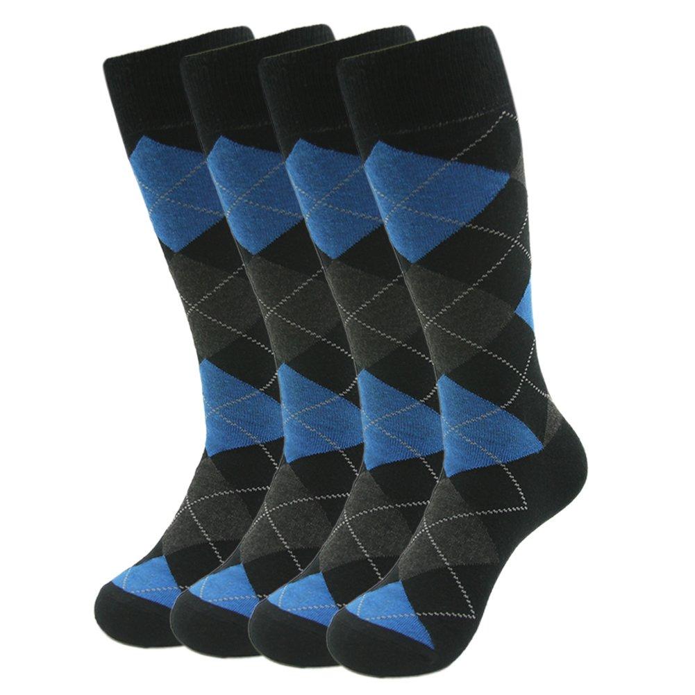 Argyle Pattern Casual Socks, SUTTOS Men's Elite 4-Pack Funky and Colorful Business Dress Socks Mid Calf Comfortable Custom Elite Blue Grey Black Argyle Jacquard Gift Crew Wedding Dress Socks for Groomsmen