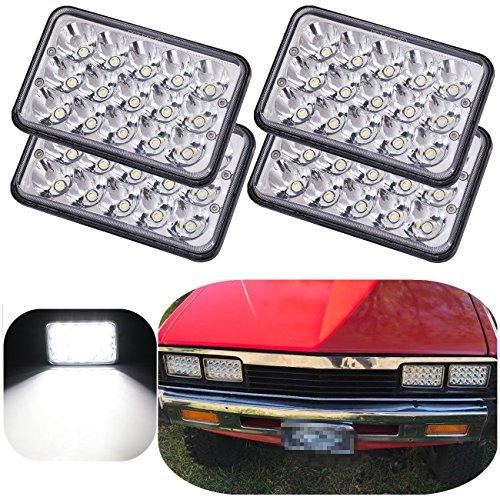 Vouke 4pcs DOT approved H4651 Sealed Beam Headlamp Assembly 4x6 inch LED Headlights for Peterbilt Kenworth Freightinger Ford Probe Chevrolet Oldsmobile Cutlass H4651 H4652 H4656 H4666 H6545 w/H4 Plug