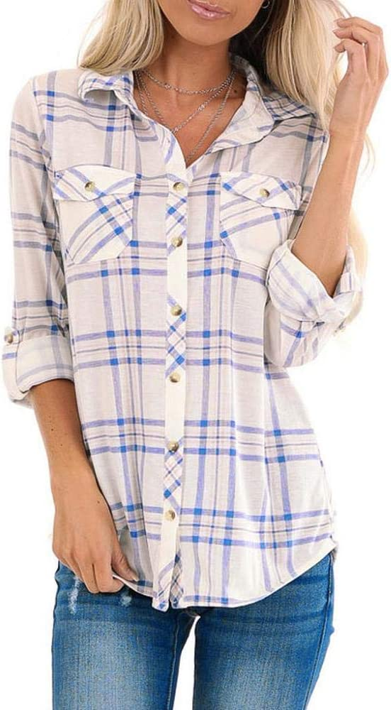 VJGOAL Blusa de Mujer Moda clásica Solapa Estampado a Cuadros Botones de Manga Larga Tops Camisas Sueltas Casuales con Bolsillos: Amazon.es: Ropa y accesorios