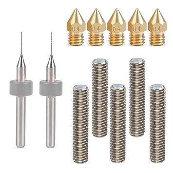 KINYOOO 5pcs 30MM Longitud Extruder 1,75mm Tube y 5pcs 0.4mm latón Extrusor Boquilla cabezales de impresión y 2 pcs herramientas de limpieza para MK8 ...