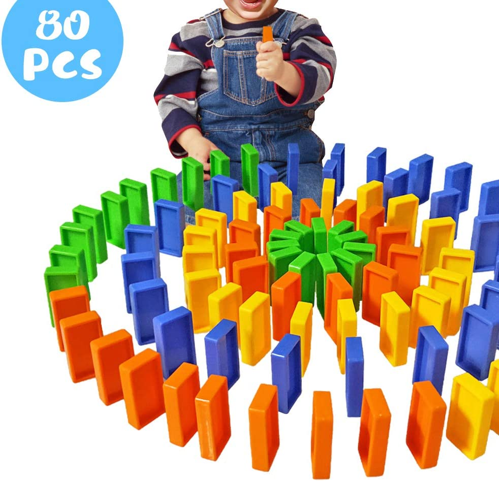 Domino Blocks Set, Domino Train Blocks Refill Pack,80 PCS Colorful Plastic Safe Domino Blocks, Building and Stacking Toy Blocks Domino Set for 3-7 Year Old Toys, Boys Girls Creative Gifts for Kids