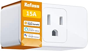 Apple HomeKit Smart Plug WiFi - Smart Outlet Compatible with Alexa, Google Home, Siri, Refoss Smart Socket with Timer Function, Remote Control, 15A