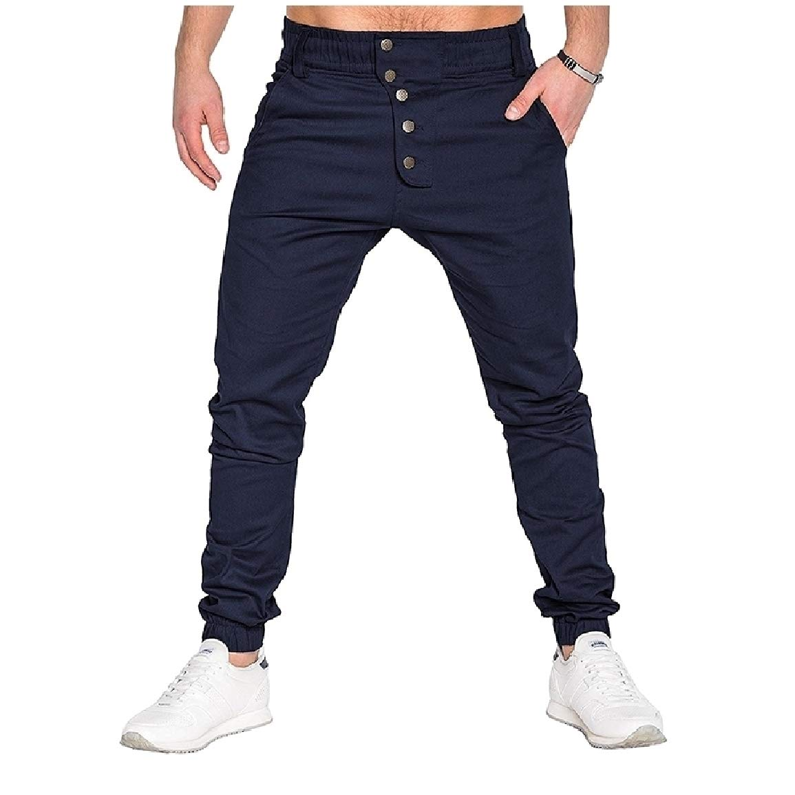 SayahMen Plus Size Hip Hop Single-Breasted Outdoor Trousers Pants