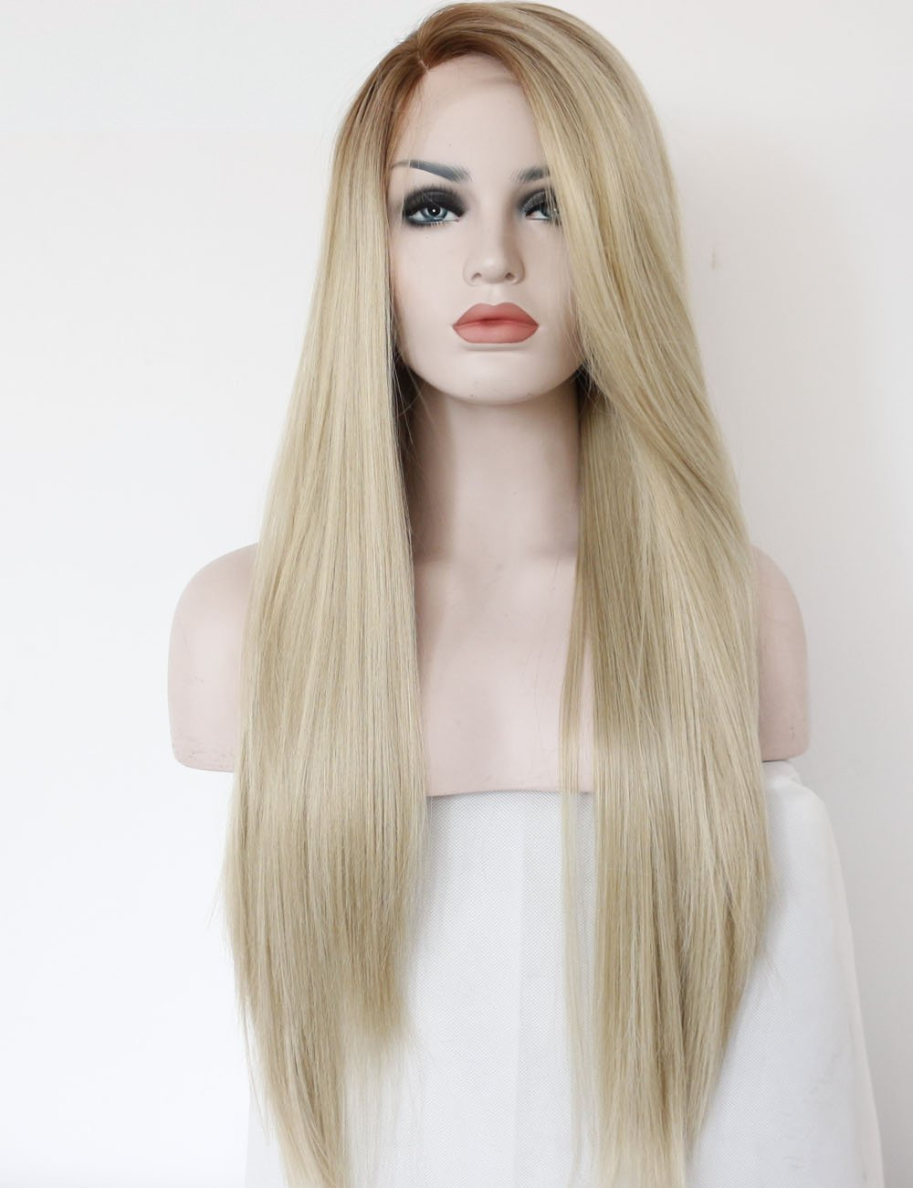 K'ryssma Fashion Ombre Blonde Glueless Lace Front Wigs 2 Tone Color Light Brown Roots #12 Side Part Long Natural Straight Heat Resistant Synthetic Hair Replacement Wig For Women Half Hand Tied by K'ryssma